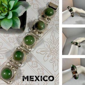 Vintage Mexican Jade & Silver Hinged Bracelet EUC